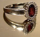 Attractive 10K WHITE GOLD GARNET and DIAMONDS RING