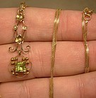 EDWARDIAN 14K PERIDOT & SEED PEARLS PENDANT NECKLACE