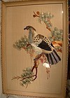 CHINESE PHEASANT ON TREE SILK THREAD PICTURE in FRAME
