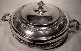 Ornate Forbes COVERED ROUND ENTREE DISH c1890