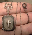 Fine Sterling ART DECO ROCK CRYSTAL NECKLACE with CROSS