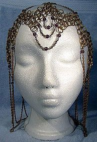 ART DECO GILT BRASS CHAIN MESH SKULL CAP HAT c1920s