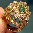 Opulent 18K EMERALD & DIAMONDS WIREWORK RING