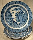 Rare Set of 4 Georgian Blue Willow Variant Plates c1800-20