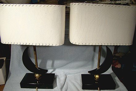 Pair MAJESTIC 1950s TABLE LAMPS with SHADES