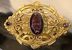 Art Nouveau Gilt Sash Pin c1900 - Amethyst Glass Stone