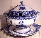 Charles Meigh FLOW BLUE 3 PC SOUP TUREEN c1860