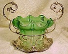ART NOUVEAU GLASS SERVING DISH in SP STAND c1900