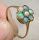 Edwardian 9K Opals Flower Ring c1910-15 Antique