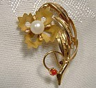 Fine 18K PEARL & RED CORAL FLOWER BROOCH or PIN c1950s-60s