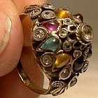 14K Dome Style Ring with Semiprecious Gemstones 1920s-30