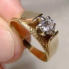 14K Yellow Gold Diamond Solitaire Engagement Ring - Great Style c1960s