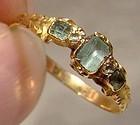 Georgian 15K Gold Emeralds Diamonds Ring 18thC Genuine Gems Size 8-3/4