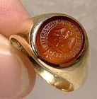 Gentlemans 18K Gold Signet Carnelian Intaglio Seal Ring 1900