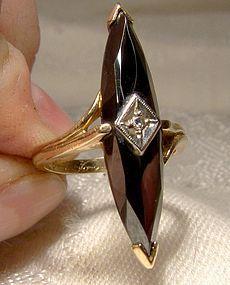 10K Black Alaskan Diamond Pyrite Hematite Ring with Diamond 1960s 10 K
