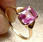 10K Pink Topaz Ring with Hearts 1950s 10 K Size 7-1/4 Genuine