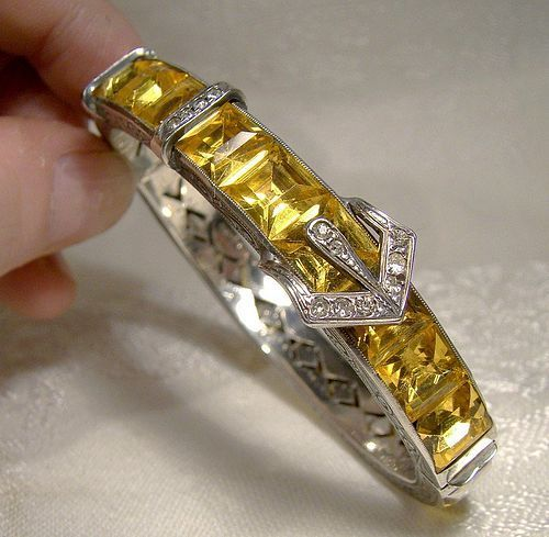 ART DECO Yellow Crystal Sterling Silver Buckle Bangle BRACELET 1920