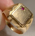 Man's 18K Ruby Signet Ring 1960s 18 K Initial Size 8.5 8-1/2