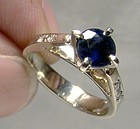 14K White Gold Blue Sapphire and Diamonds Ring 1960s 14 K Size 3-1/4