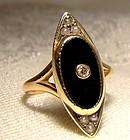 Art Deco 14K Yellow Gold Black Onyx and Diamond Signet Ring 1920s-30s