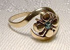 10K Yellow Gold Natural EMERALD RING 1940s  10 K Size 6-1/2