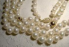 Pearls Strand Necklace w/ 14K Gold Clasp and Balls 1960s - 128 Pearls
