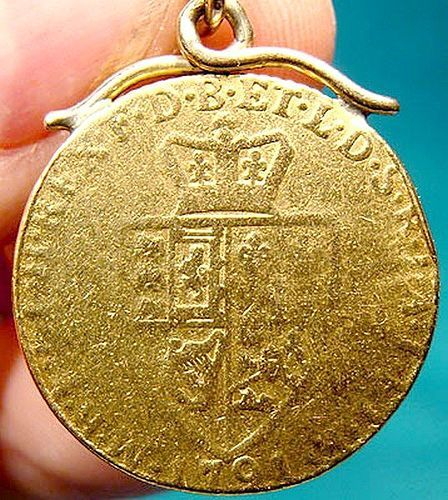 George III 1791 Spade Guinea Coin Necklace Pendant Genuine 22 K Gold