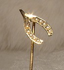 Victorian 10k Seed PEARLS Wishbone STICKPIN or Cravat or Tie Pin 1890s
