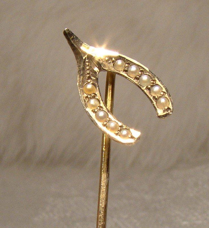 Victorian 10k Seed PEARLS Wishbone STICKPIN or Cravat or Tie Pin 1890s