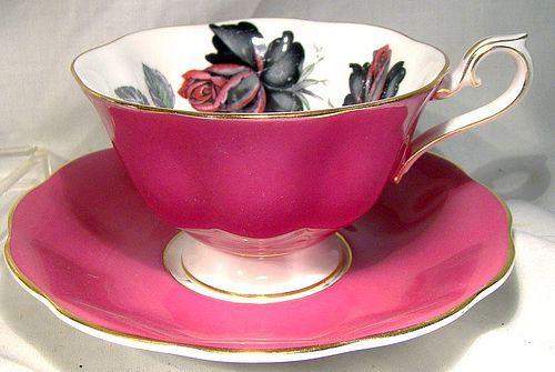 Royal Albert Masquerade Tea Cup and Saucer - Black Roses Magenta Avon
