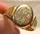 Art Deco 9K Yellow Gold Man's Signet Ring 1926 - Size 10-3/4