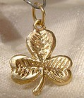 9k Yellow Gold Shamrock Pendant or Charm