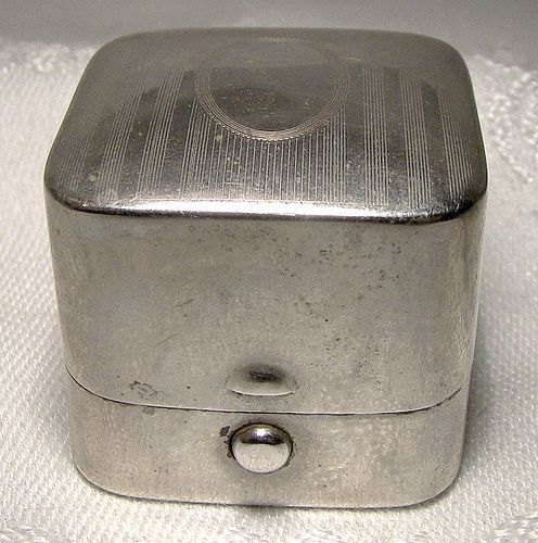 Sturdy Nickle Silver Antique Ring Box - Thomas Lees Hamilton Ontario