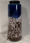 "Scheurich Fat Lava Blue Brown 10-1/2"" German 1960s Modern Vase"