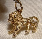 10k Rose Gold Lion Charm Pendant 1960s - 10 K Gold