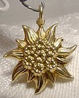 14K Edelweiss Flower Yellow Gold Charm Pendant 1960s