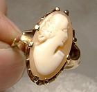 Birks 10K Yellow Gold Cameo  Ring 1910 1920 - Size 6-3/4