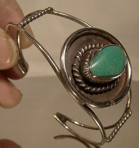 Navajo Sterling Silver Turquoise Southwest Tribal Cuff bangle Bracelet
