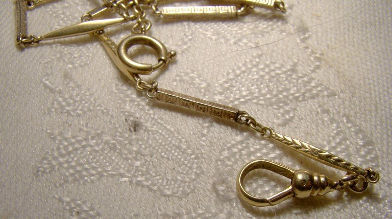 Edwardian 14K White & Yellow Gold Rod Link Watch Chain c1910 1920