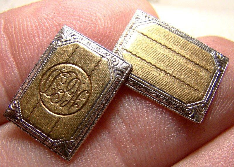 Art Deco 14K and Platinum Cufflinks 1920 Era