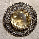 Robert Allison Scottish Sterling Silver Citrine Round Pin or Brooch