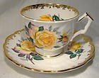 Aynsley 28 Yellow and Pink Roses Tea Cup and Saucer 1970s Leaf Scallop