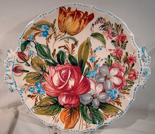 Italy Roses Tulips Faience Handled Cake Platter or Plate 1950s