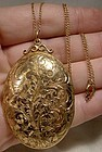 Gold Filled Engraved Large Photo Locket Necklace 1930s 1940s GF Chain