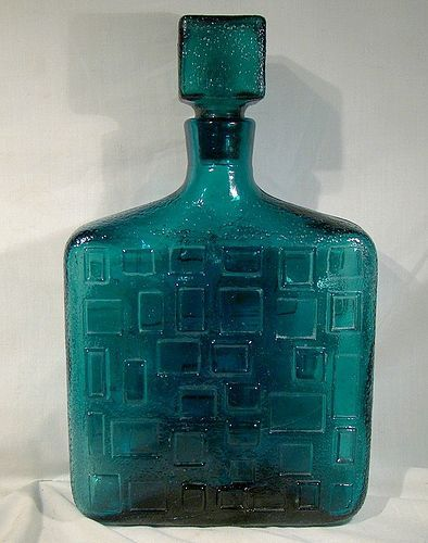 Italy Modernist Cubist Teal Glass Large Display Bottle 1970s