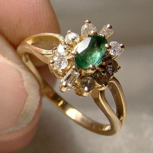 14K Genuine Emerald & Diamonds Yellow Gold Cluster Ring 1960 1970