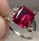 10K White Gold Synthetic Ruby & White Sapphires Ring 1960s