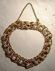 Gold Filled Double Loop Charm Bracelet 1950s - Heavy Quality