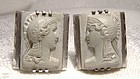 Athena Carved Lava Cameo Sterling Silver Cufflinks 1940s 1950s