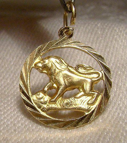 18K Yellow Gold Lion Charm